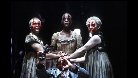Photograph of the witches in Barry Kyle's production of Macbeth, 1983