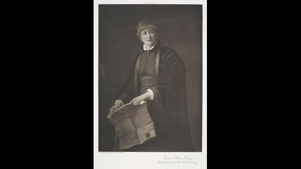 Photogravure images of Henry Irving as Shylock and Ellen Terry as Portia
