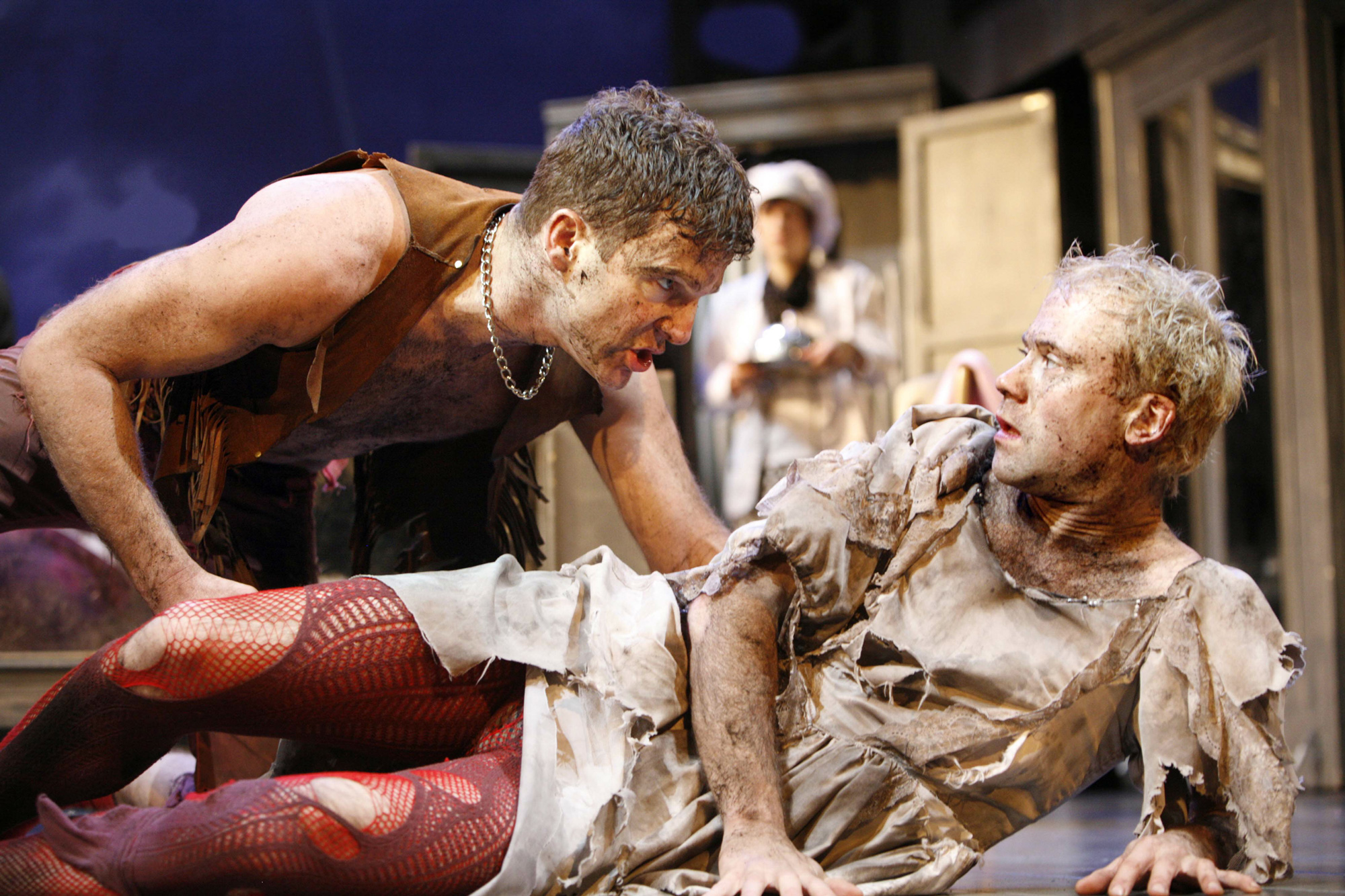 Photographs of Dugald Bruce-Lockhart and Simon Scardifield in all-male production of The Taming of the Shrew, 2007