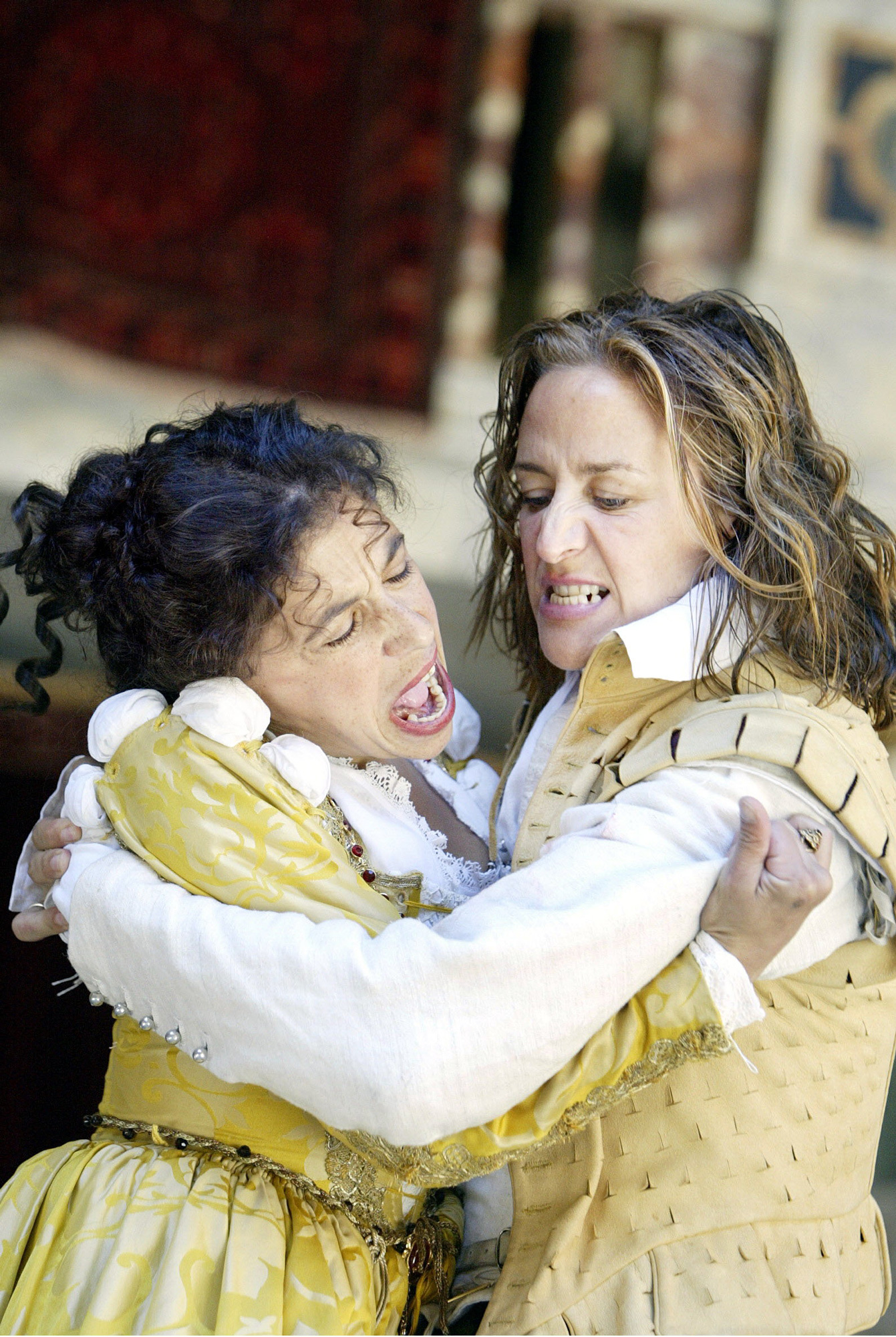 Photographs of Kathryn Hunter and Janet McTeer in all-female production of The Taming of the Shrew, 2003