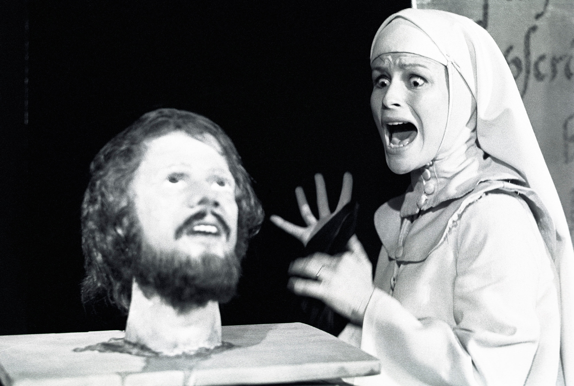 Photograph of Ciaran Maddan in Marowitz's adaptation of Measure for Measure, 1975