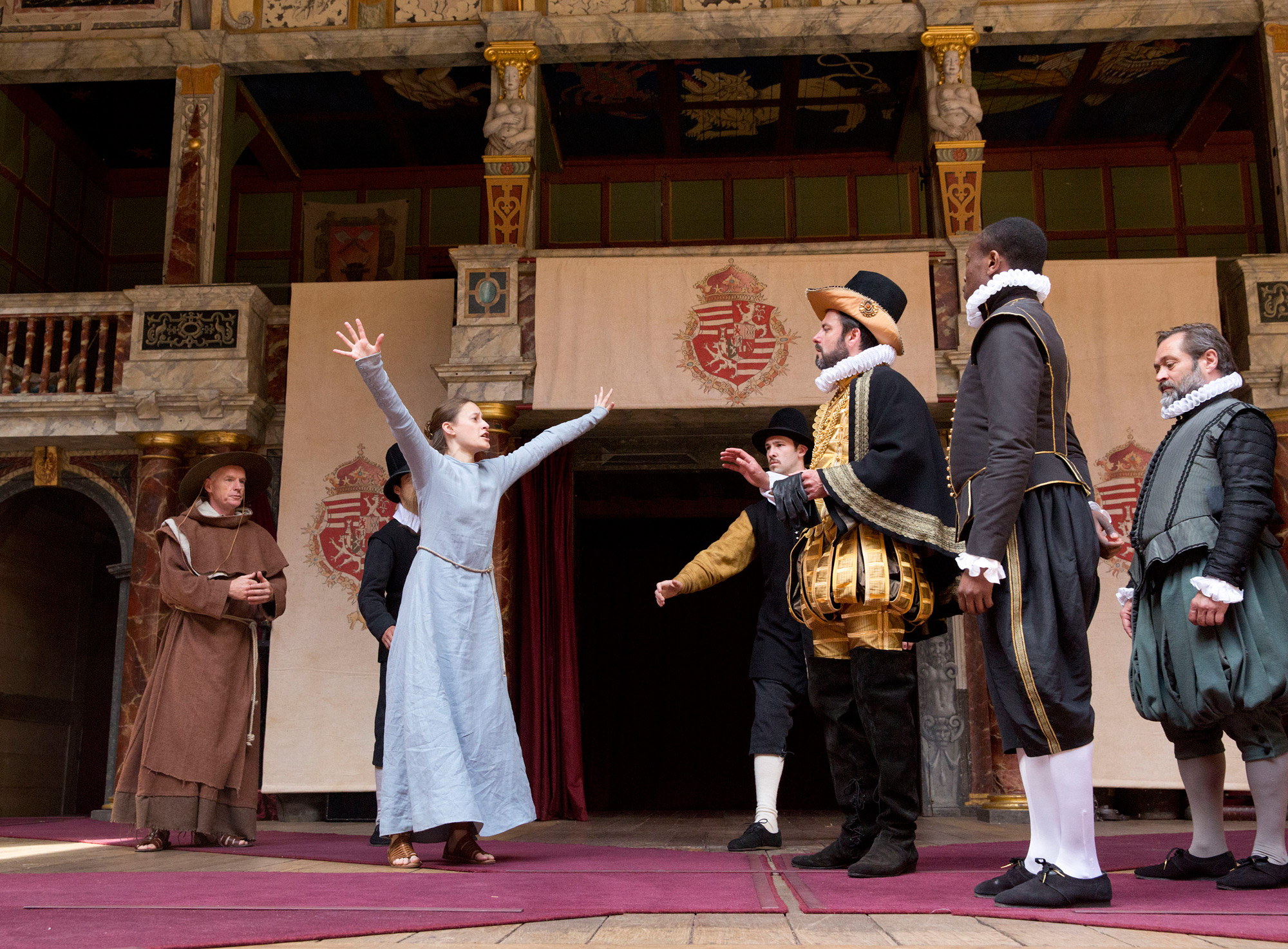 Photograph of Act 5, Scene 1 of Measure for Measure at Shakespeare's Globe, 2015