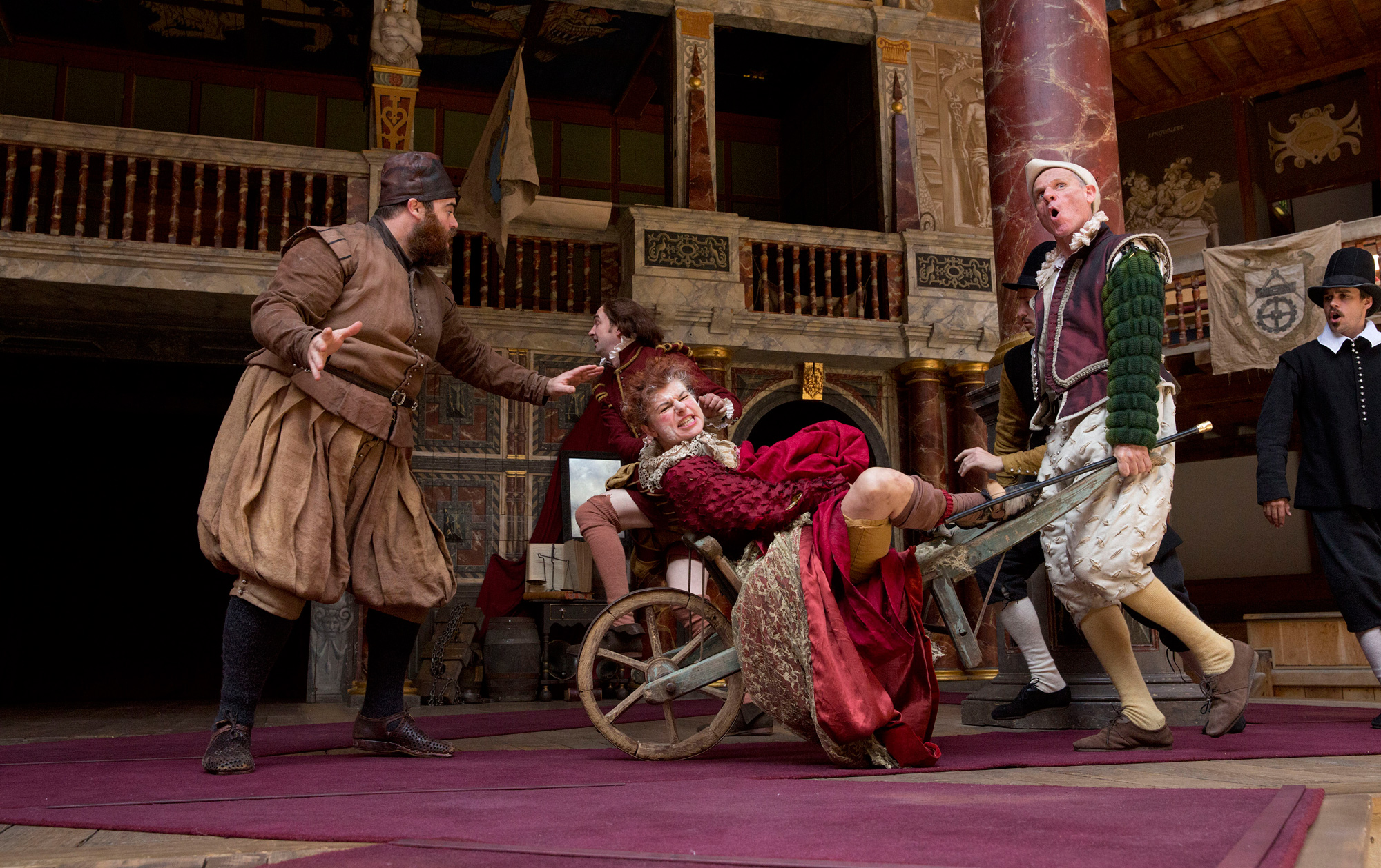 Photograph of Dean Nolan, Petra Massey and Trevor Fox in Measure for Measure at Shakespeare's Globe, 2015