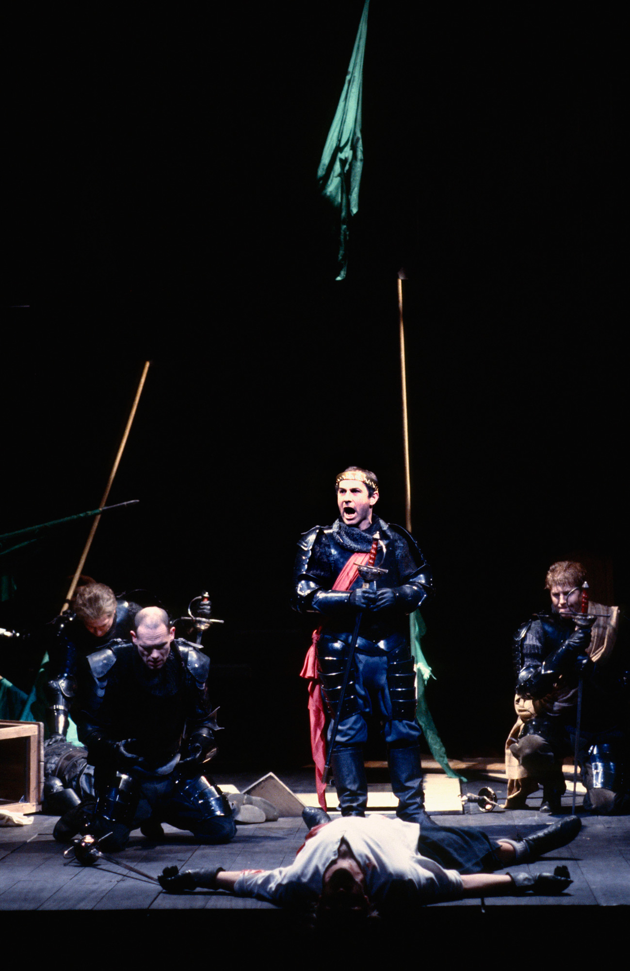 Photograph of Nicholas Woodeson as Malcolm in a 1986 production of Macbeth