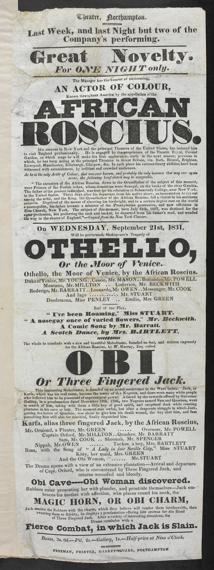 Playbill advertising Ira Aldridge's appearance as Othello in Northampton, 1831