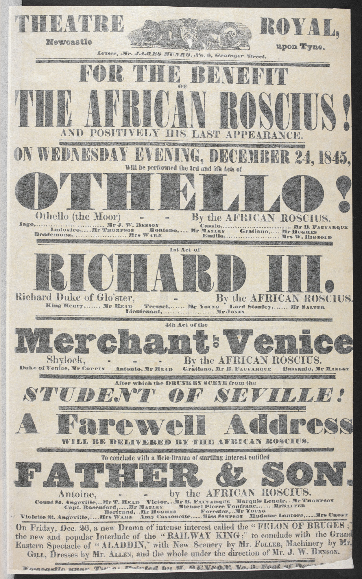 """Playbill advertising Ira Alridge's appearance as Othello, Richard III and Shylock in Newcastle, 1845 """