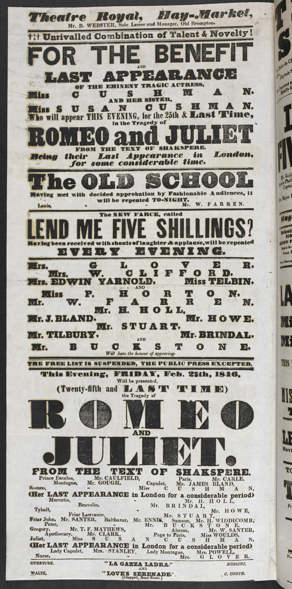 Playbill advertising the Cushman sisters as Romeo and Juliet