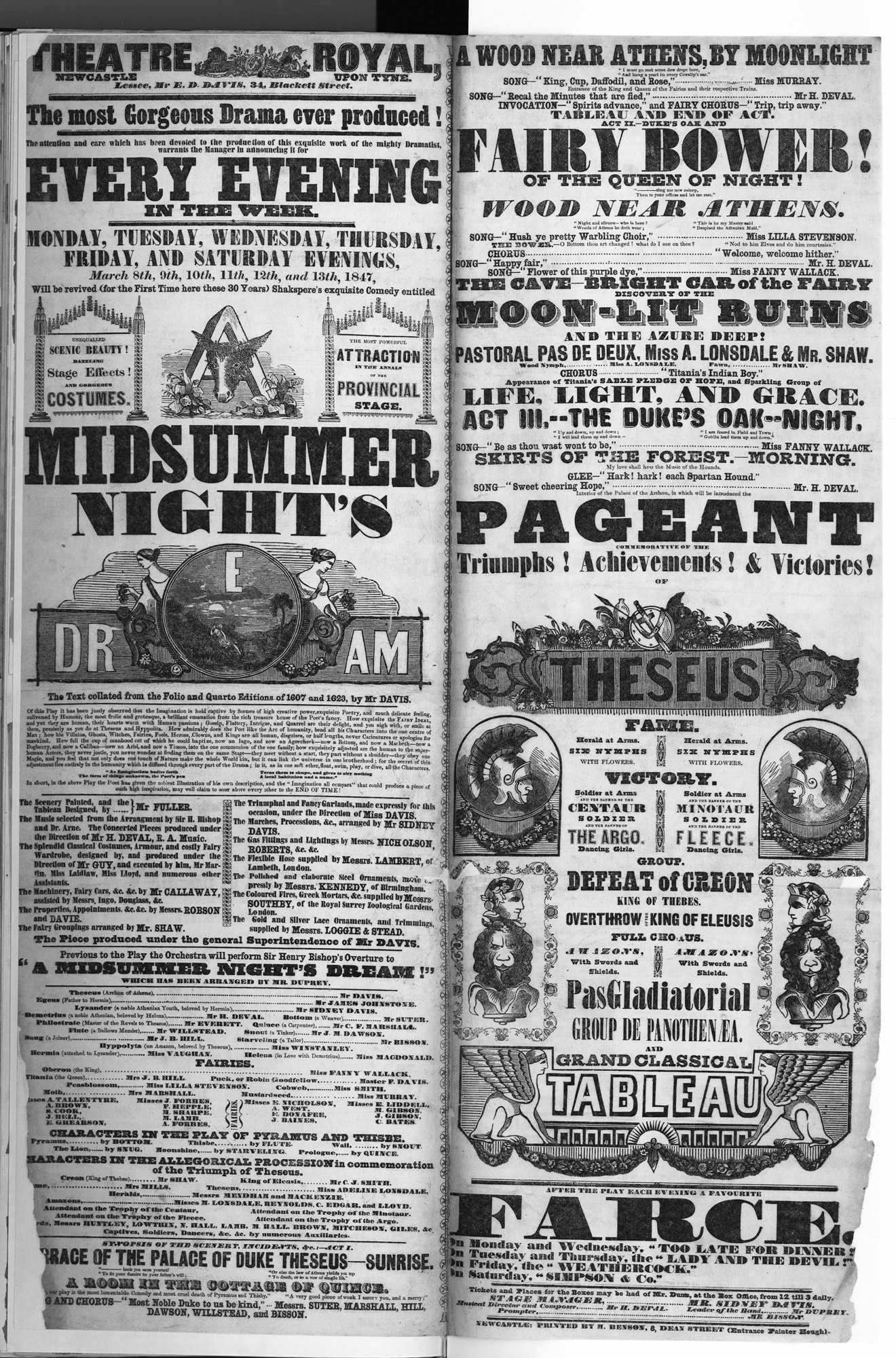 Playbill for A Midsummer Night's Dream, 1847