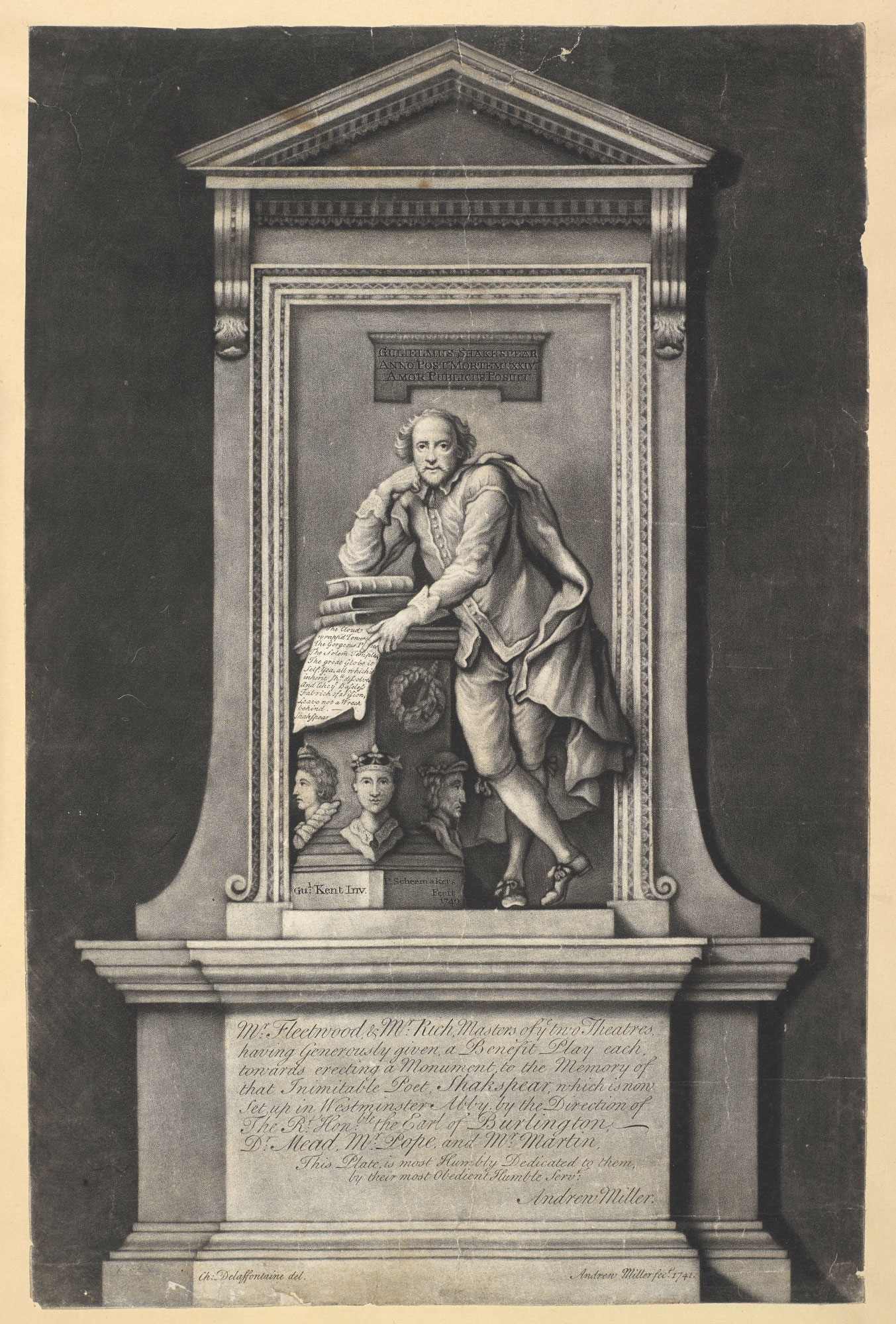 Print of the Shakespeare memorial in Westminster Abbey, 1741