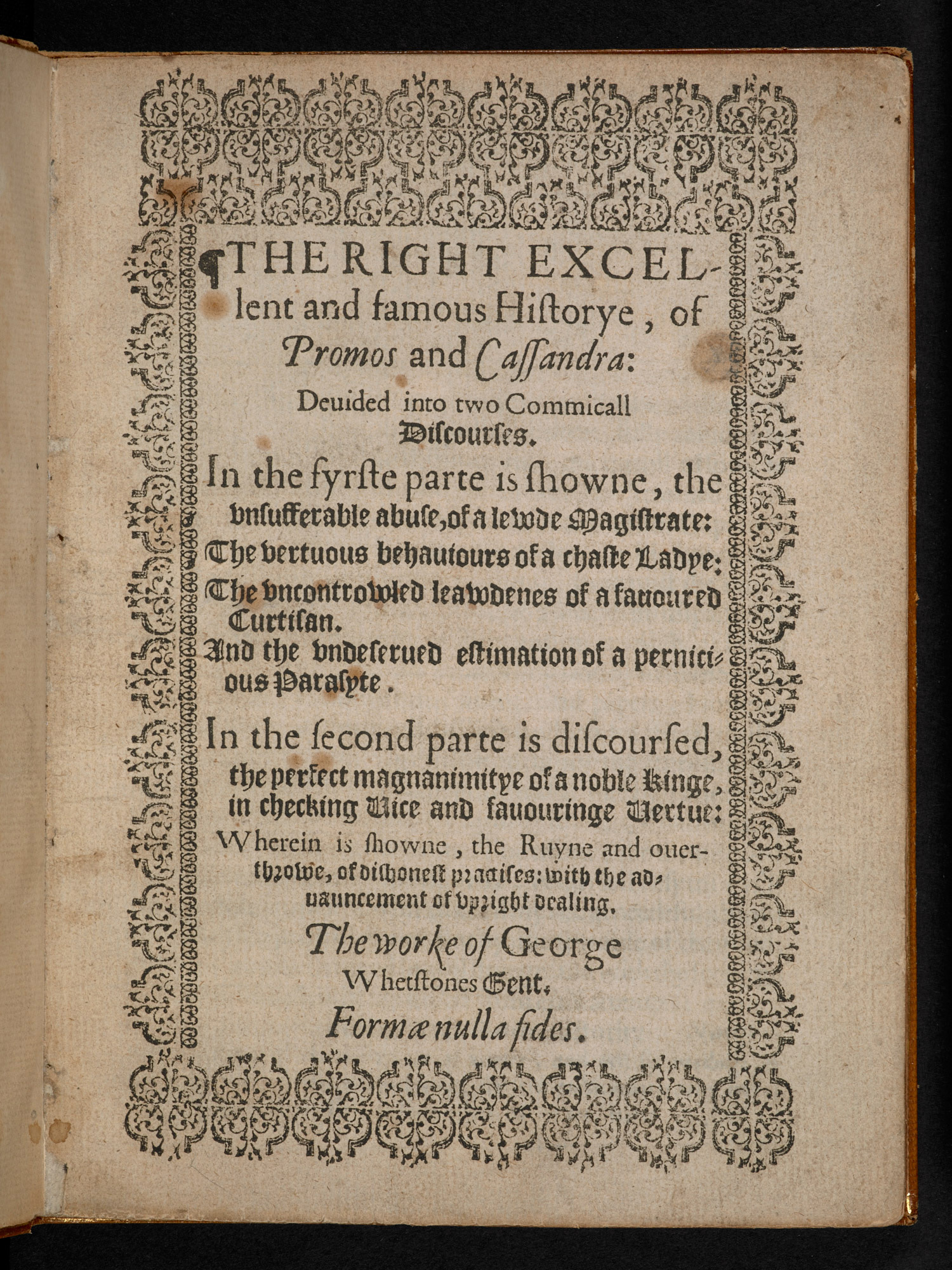 Promos and Cassandra by George Whetstone, 1578