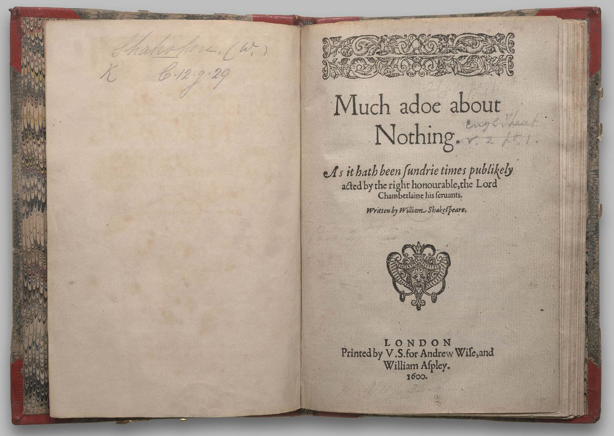 Quarto of Much Ado About Nothing, 1600