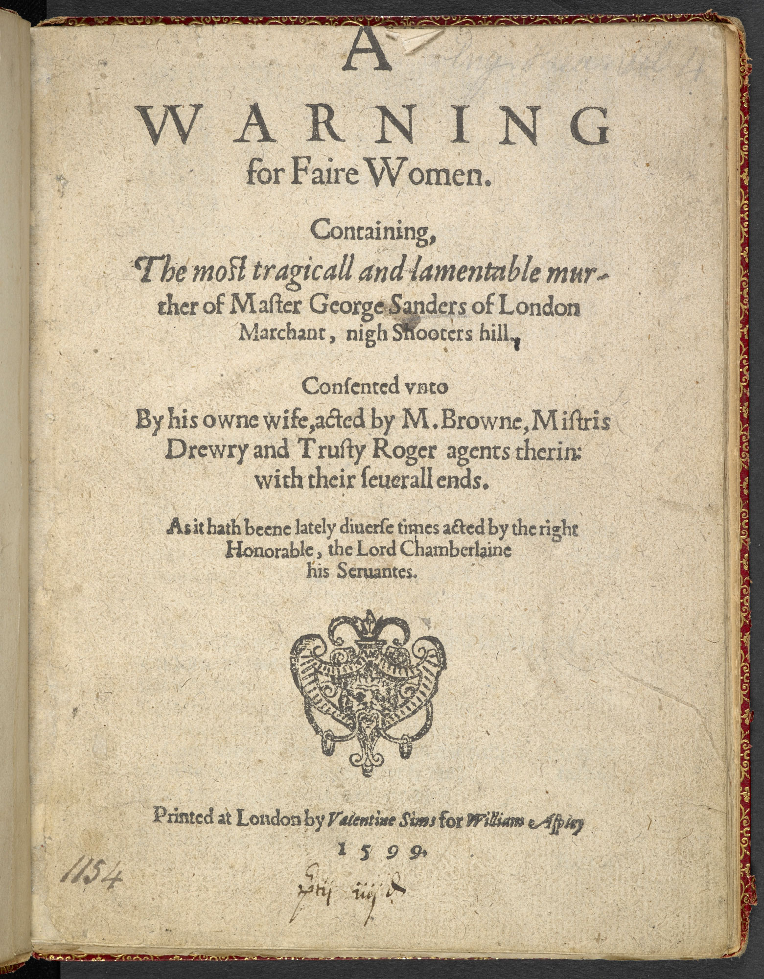 Reference to a play which prompts a murderer to confess in A Warning for Fair Women, 1599