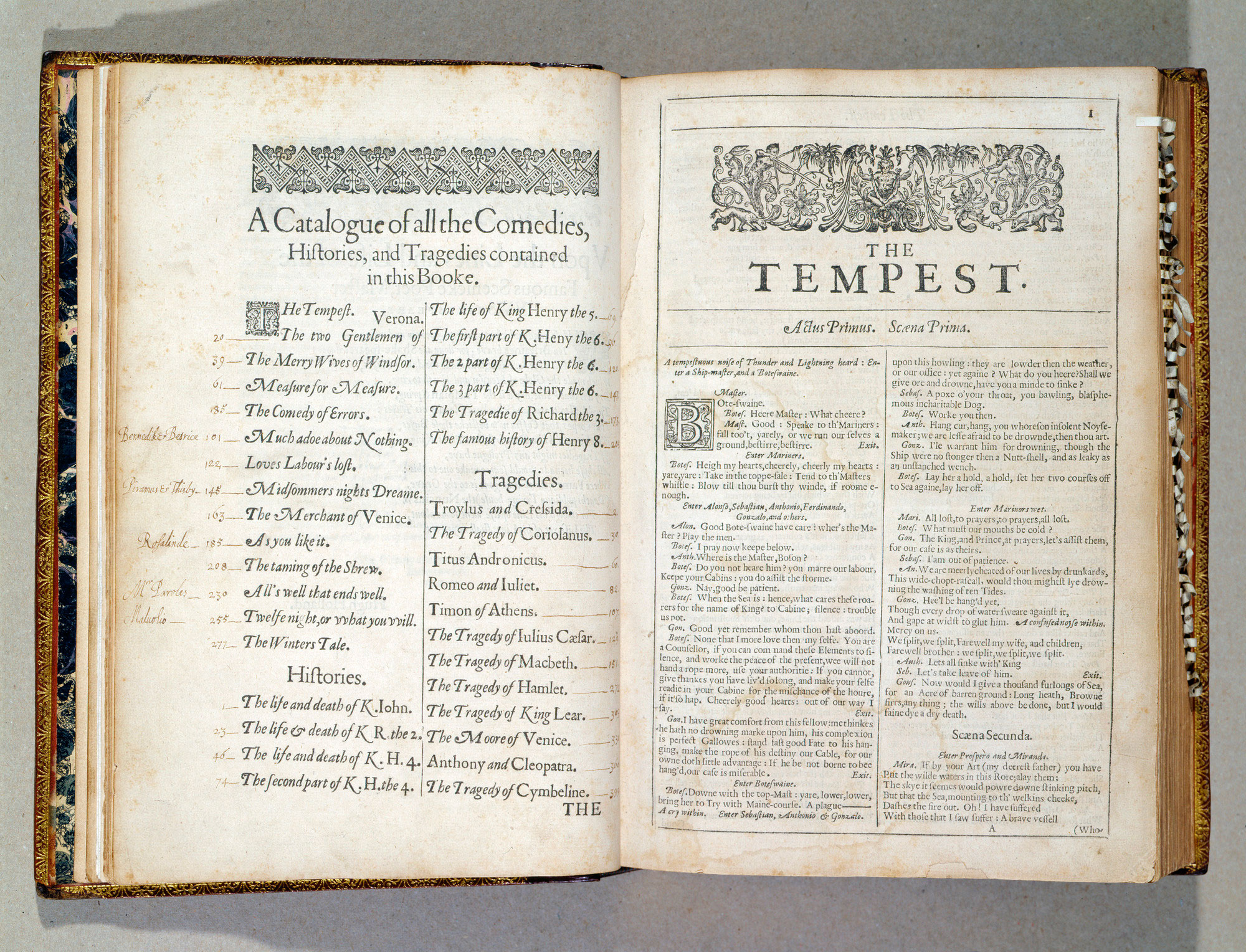 King Charles I's copy of Shakespeare