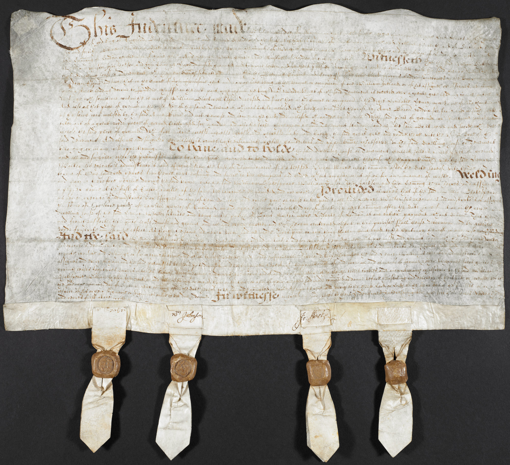 Original Mortgage Deed of William Shakespeare with a verified signature