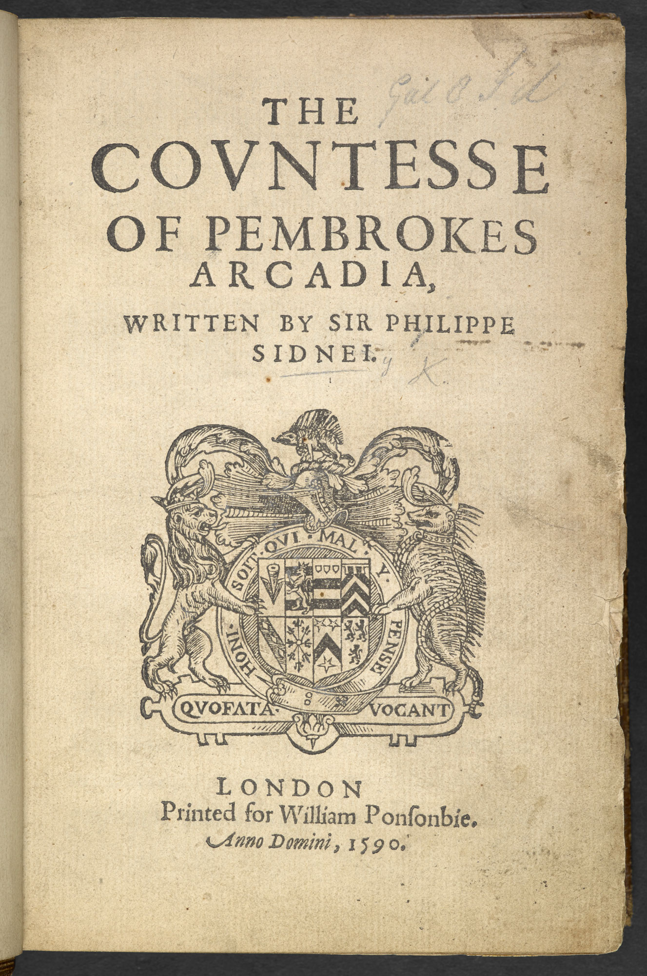 The Countesse Of Pembrokes Arcadia By Philip Sidney 1590 The