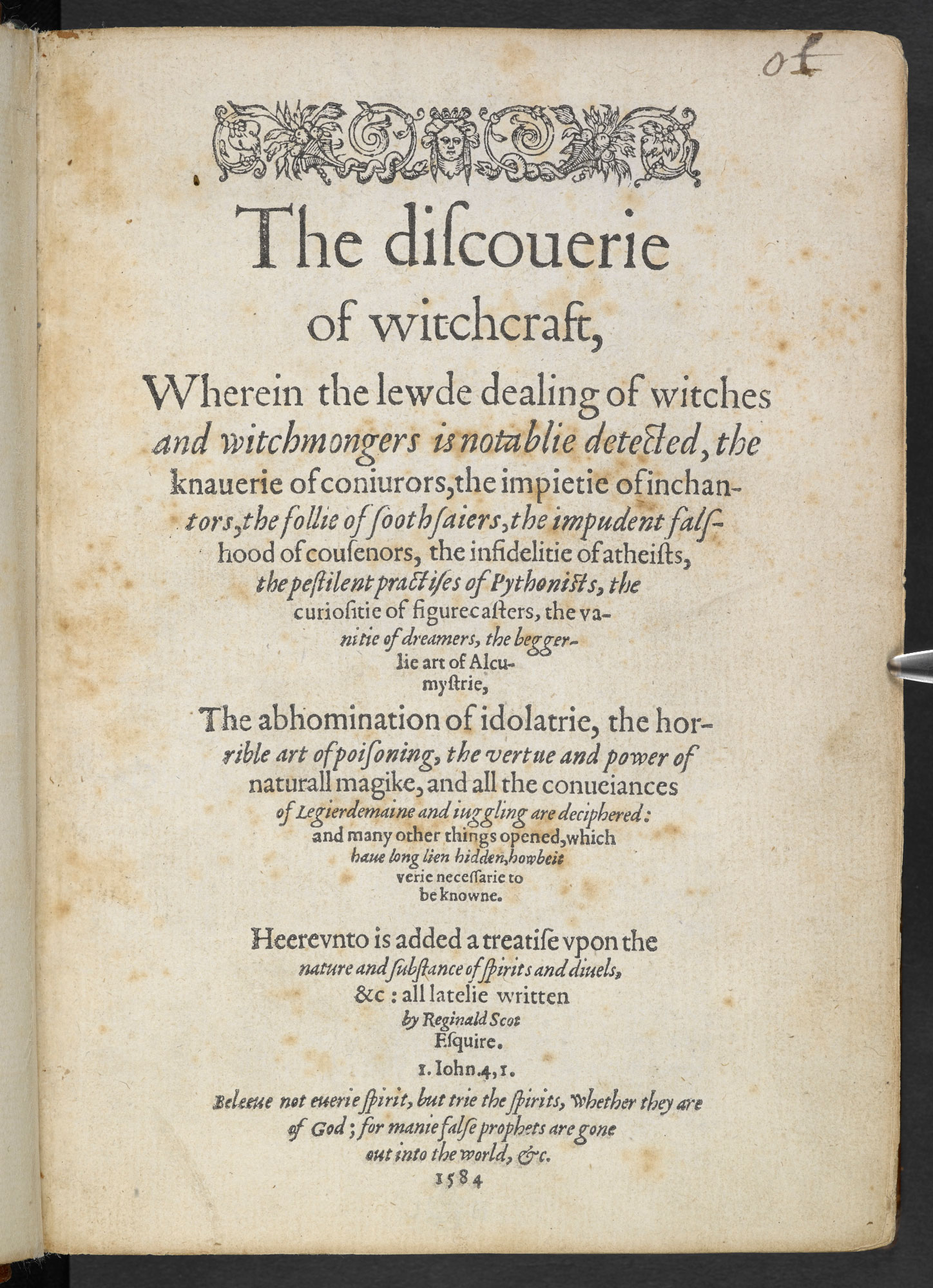 The Discovery of Witchcraft by Reginald Scot, 1584