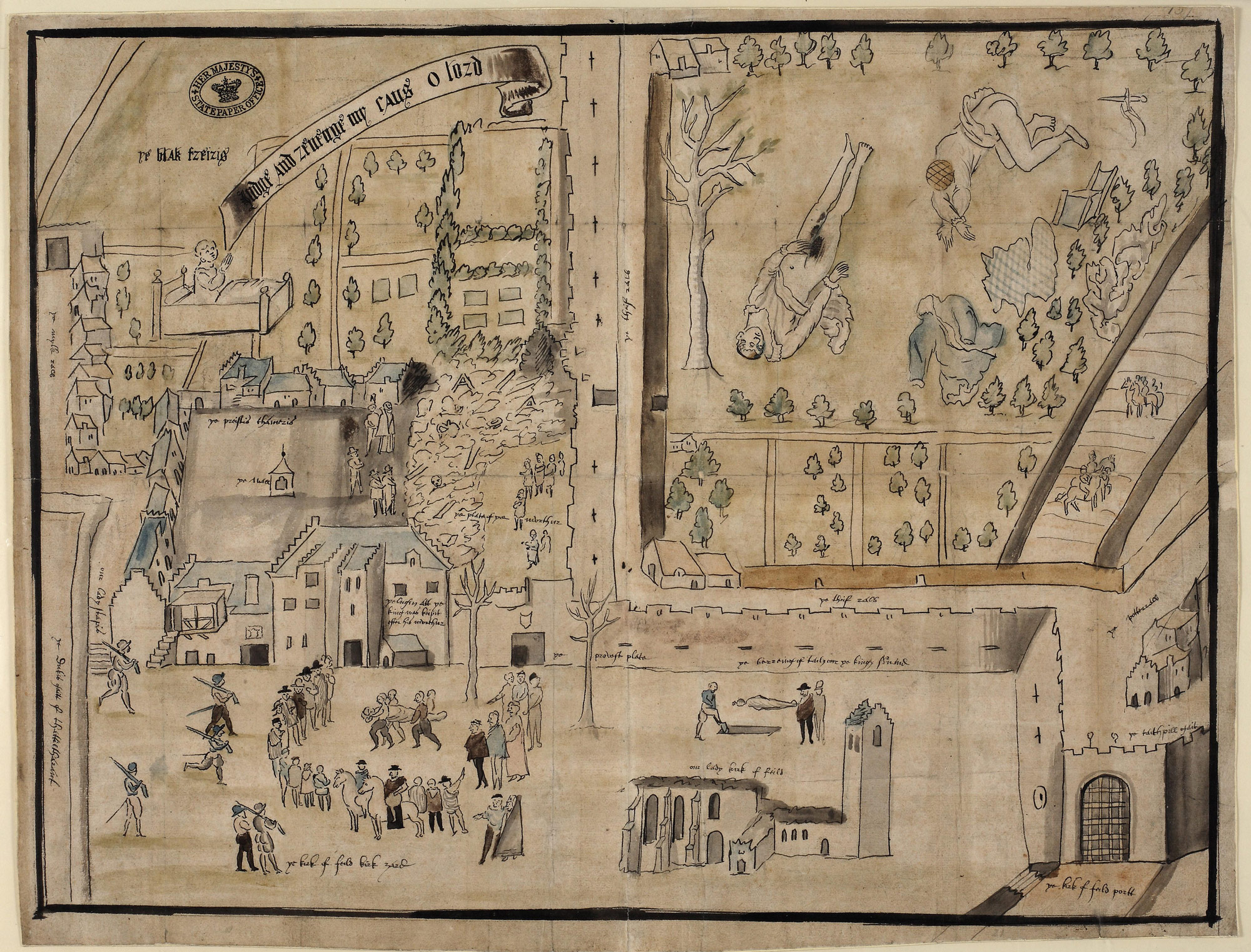 Map of the murder of Lord Darnley, 1567