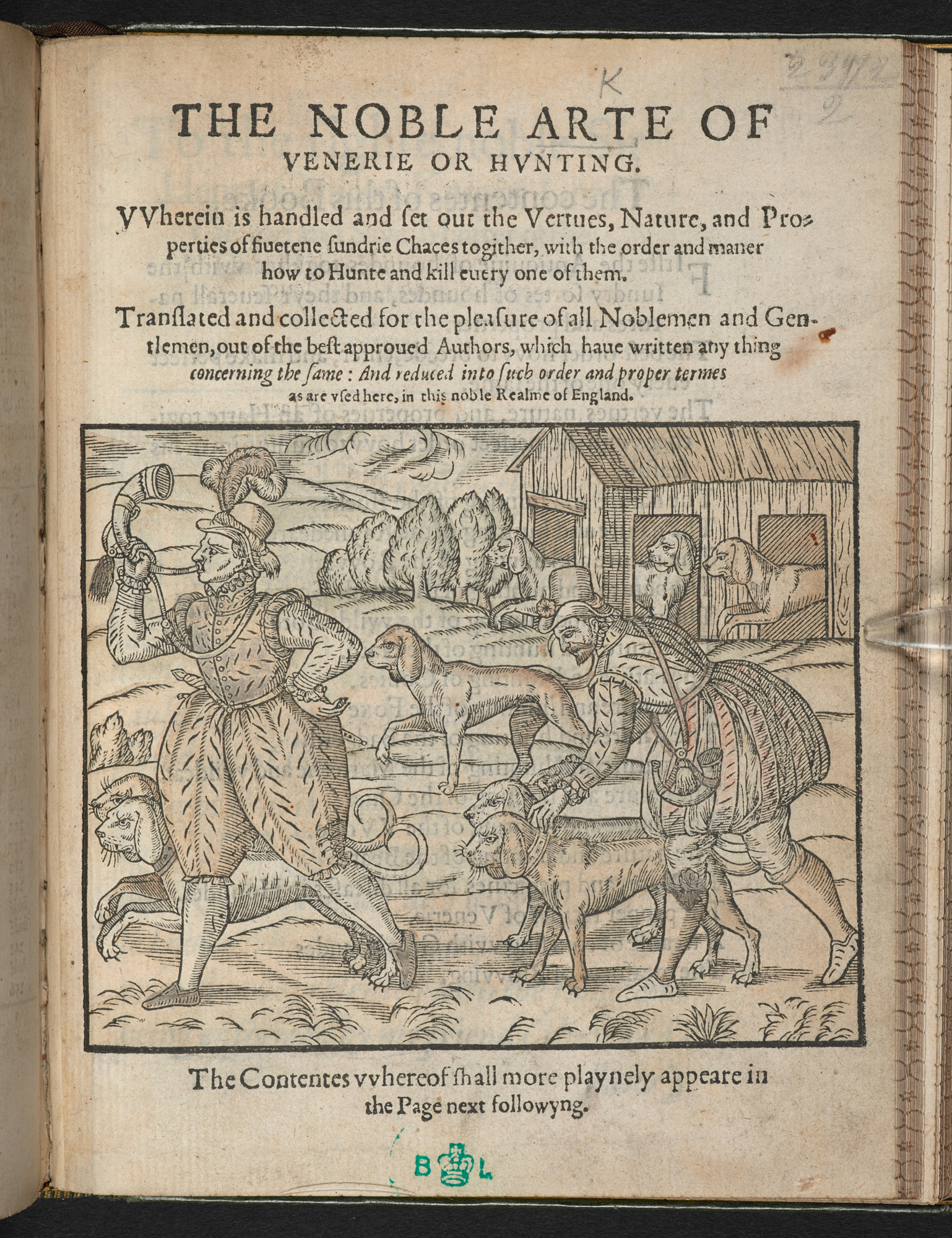 The Noble Art of Venery or Hunting by George Turberville, 1575