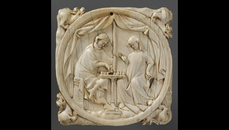 Mirror case showing knight and lady playing chess