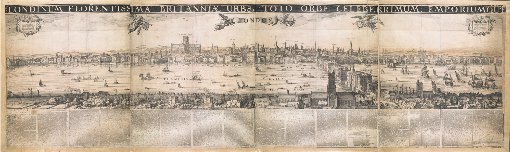 Engraved view of London by C.J. Visscher showing the Globe