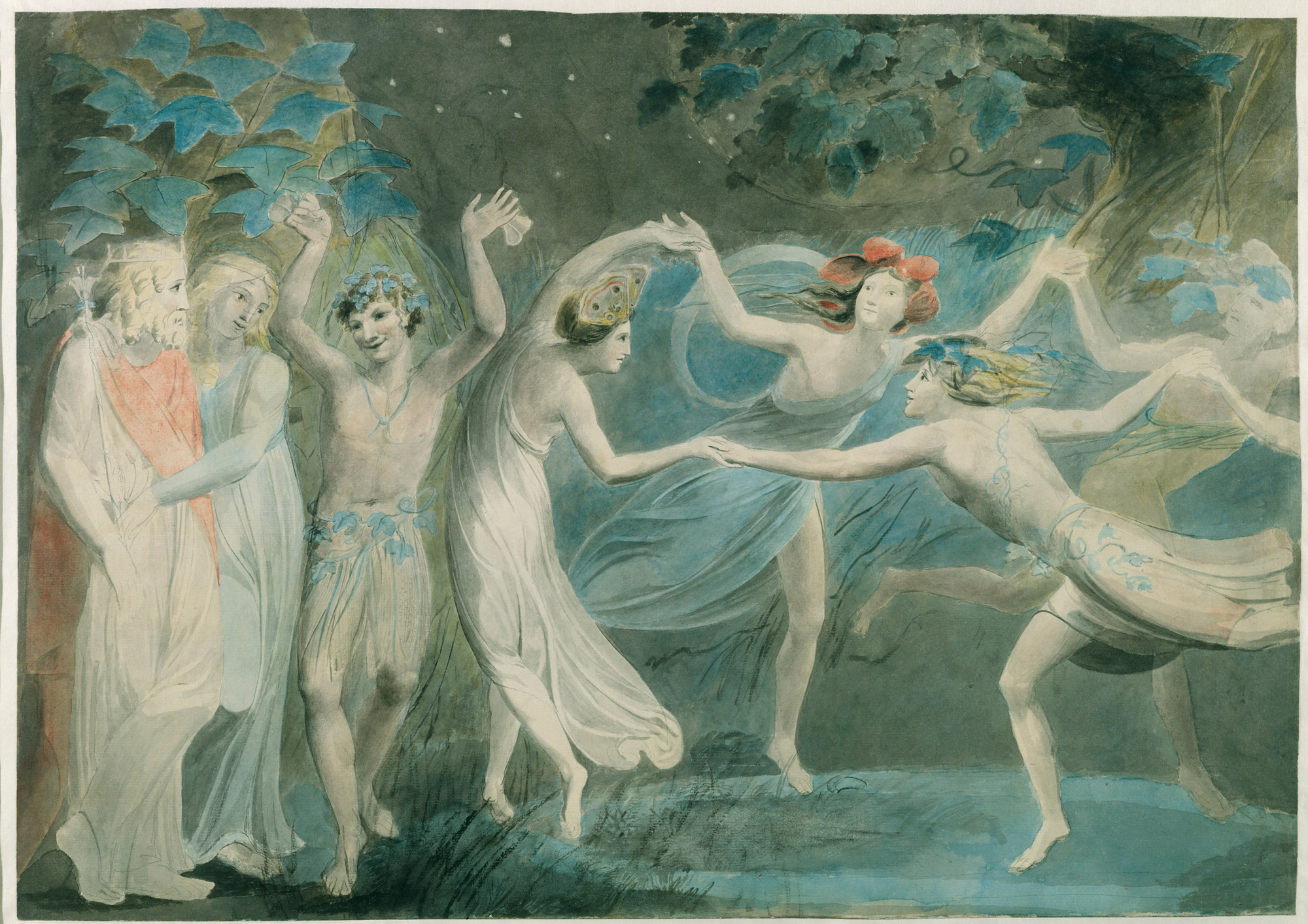 William Blake painting of fairies in A Midsummer Night's Dream
