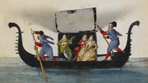 Handpainted illustration of gondola, a musician serenades a couple inside the boat. All four figures are wearing neck ruffs and Renaissance era dress
