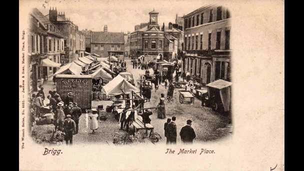 Market place in Brigg, Lincolnshire, ca. 1905. Image copyright the British Library.