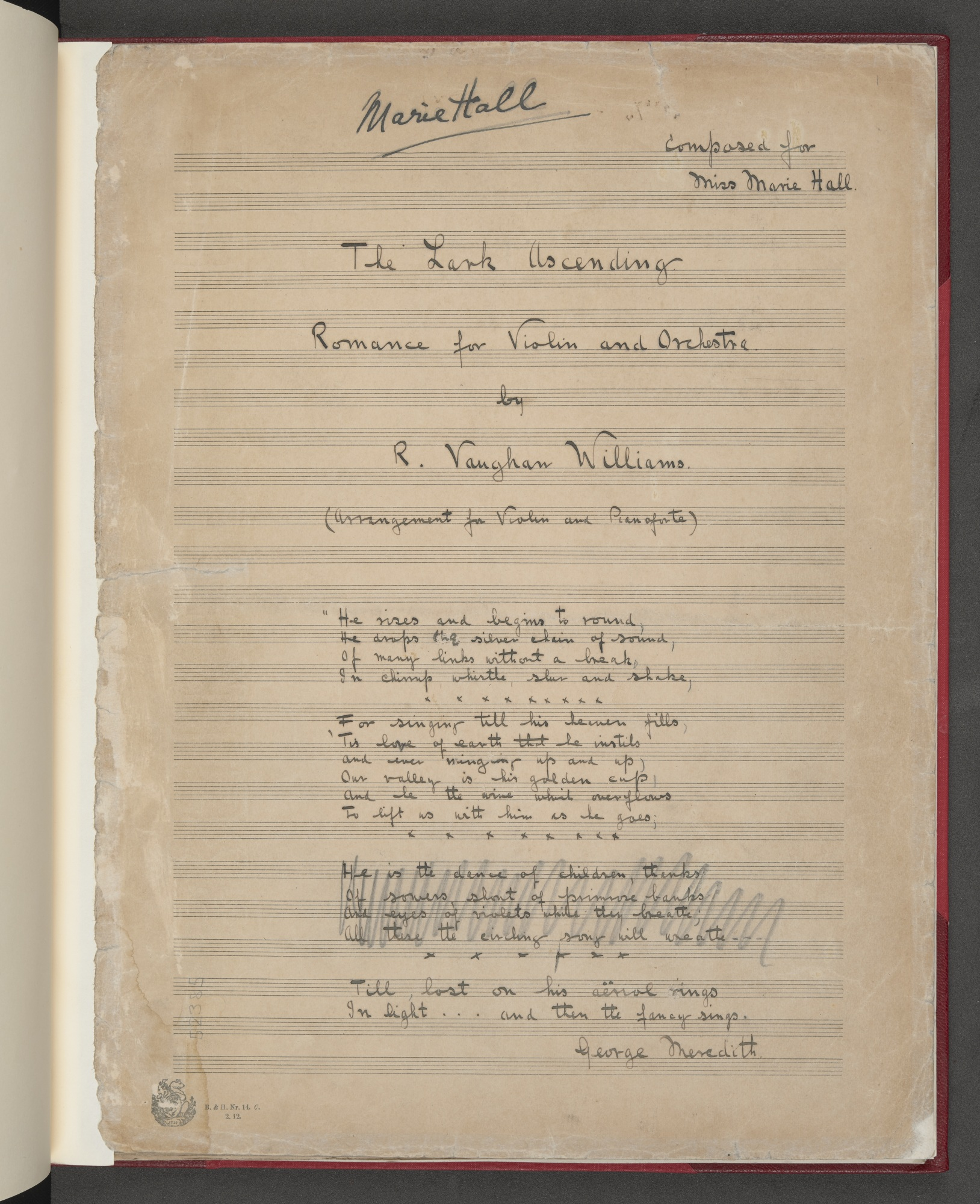 Ralph Vaughan Williams, The Lark Ascending, Add MS 52385