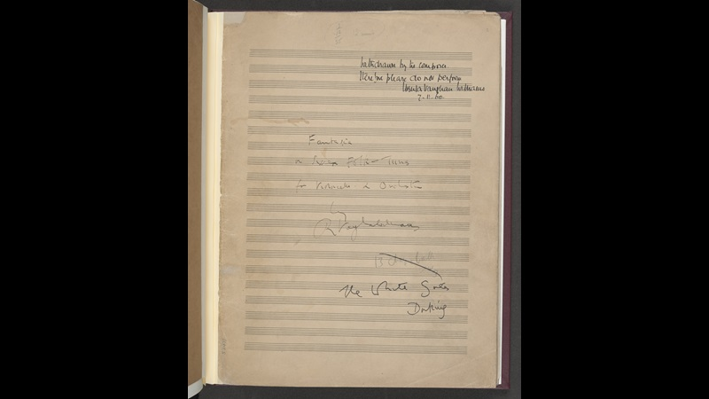 Ralph Vaughan Williams, 'Fantasia on Sussex Folk-Tunes' for cello and orchestra, Add MS 57471