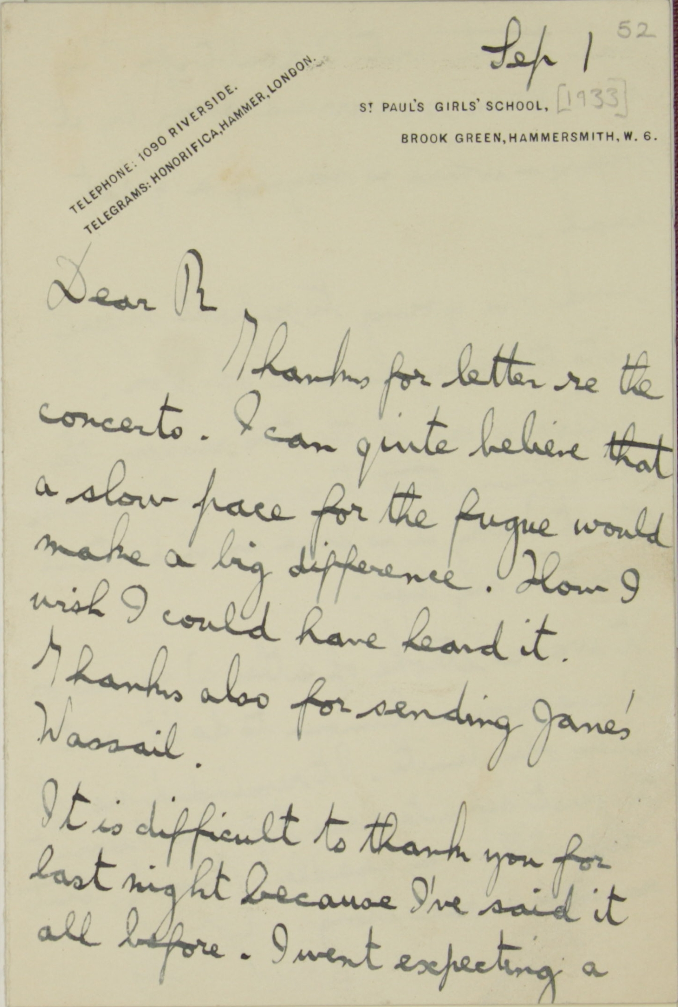 Letter from Gustav Holst to Ralph Vaughan Williams, Add MS 57953, f.52
