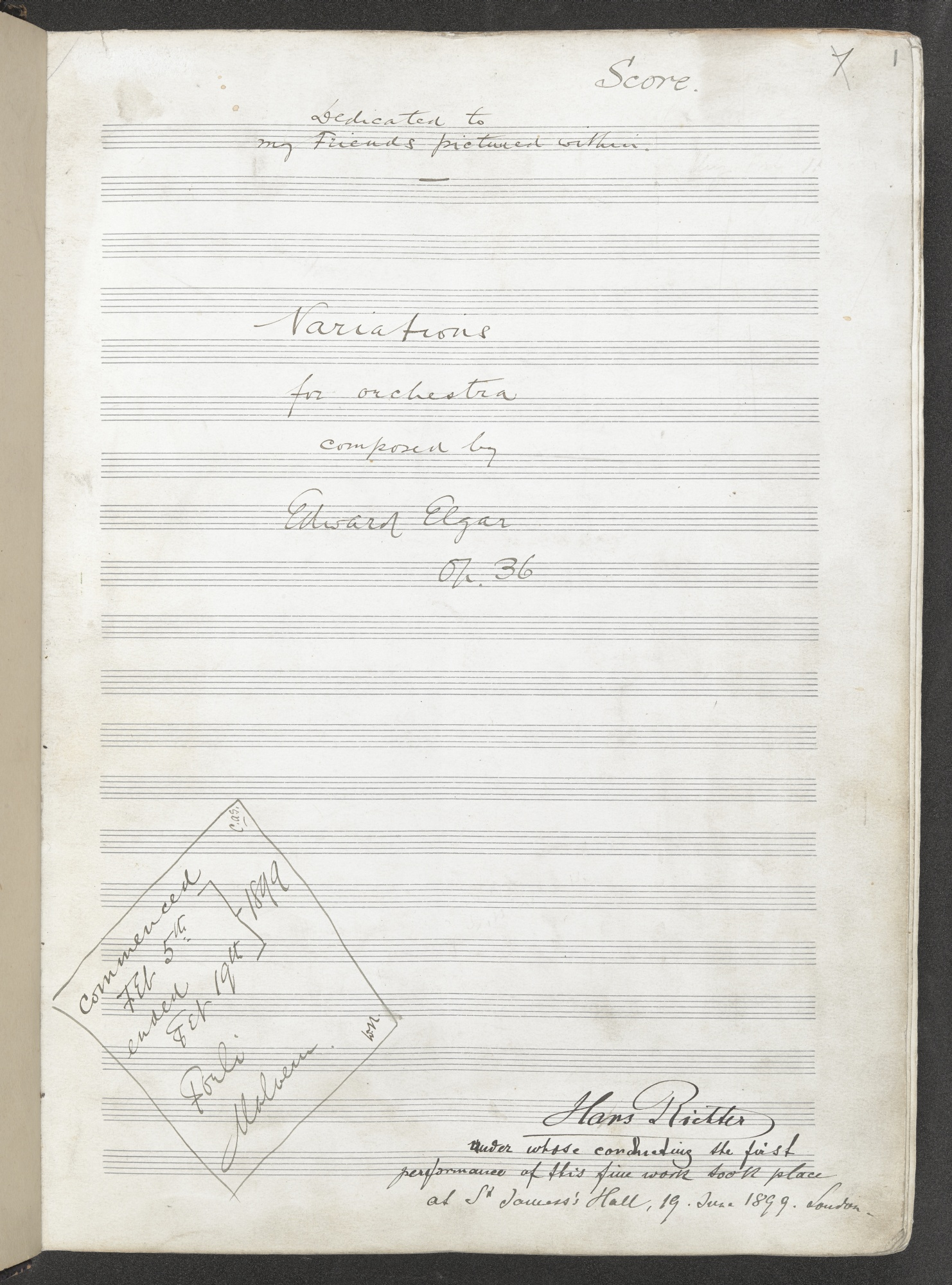 Autograph score of Elgar's 'Enigma' Variations_Add_MS_58004_f001r