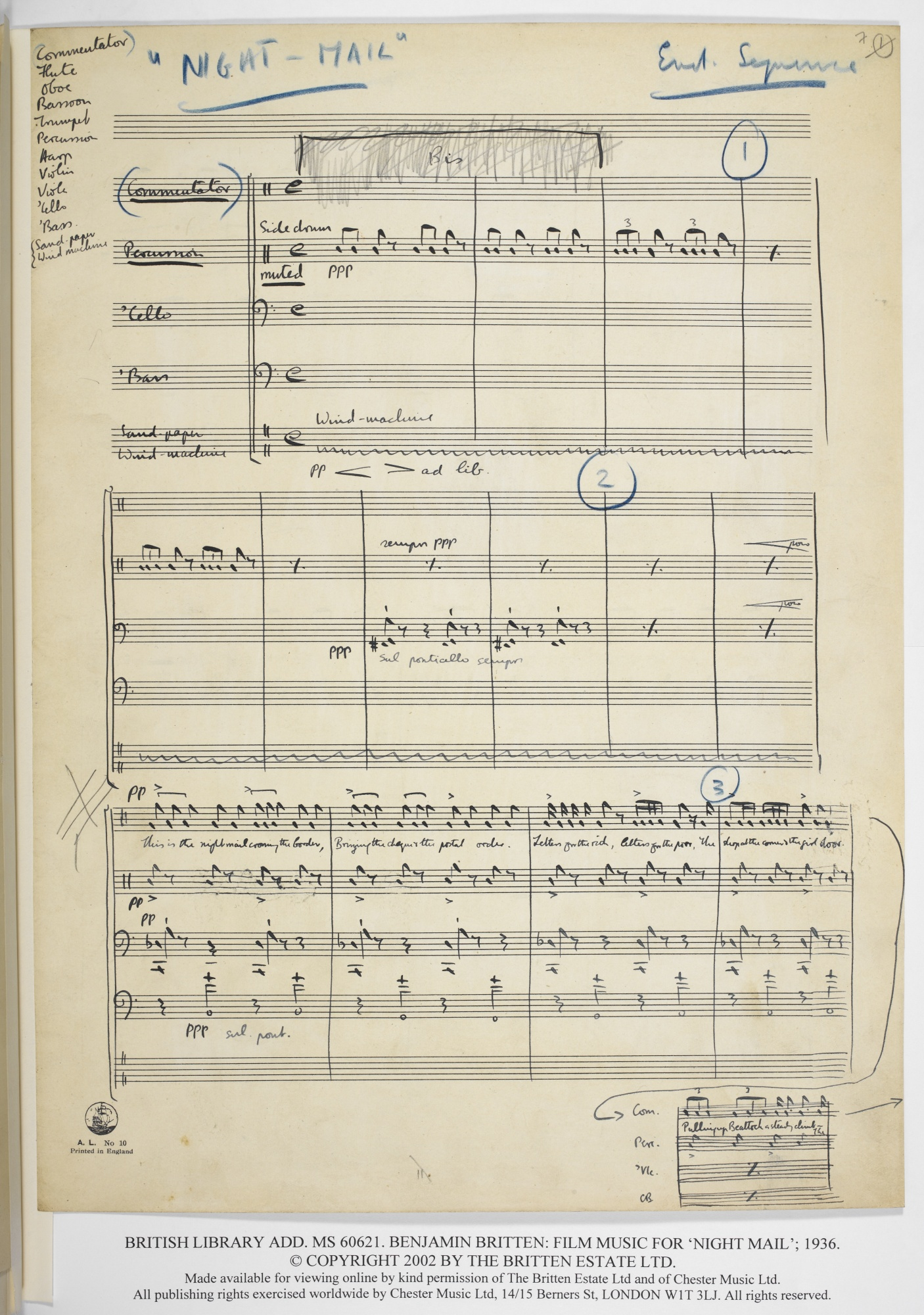 Benjamin Britten: Music for the documentary film Night Mail (1936), Add MS 60621