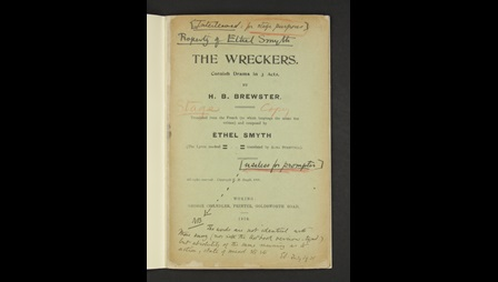 The Wreckers, libretto with manuscript notes, Add MS 68898