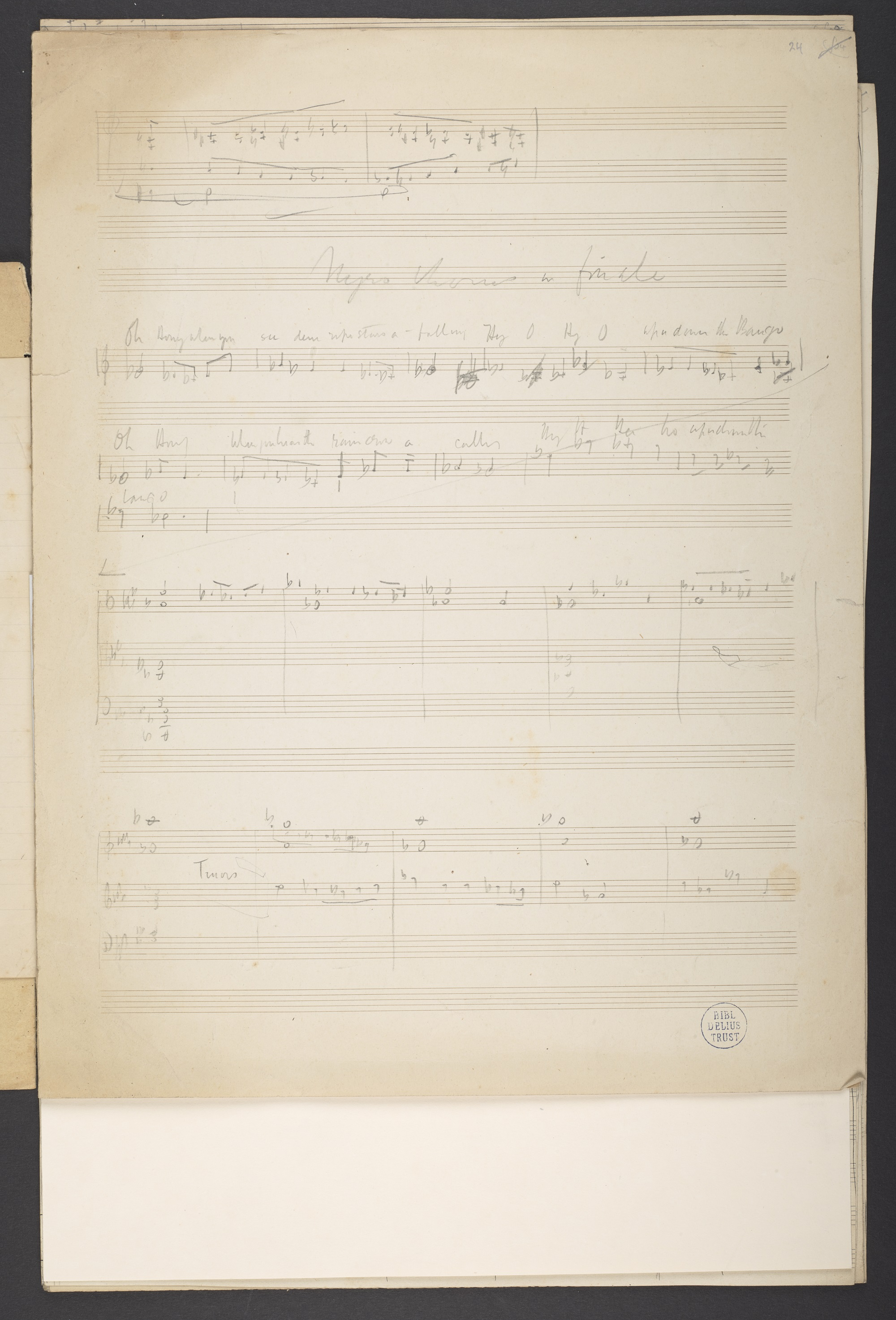 Sketch for Frederick Delius, 'Appalachia', final chorus, f. 24r