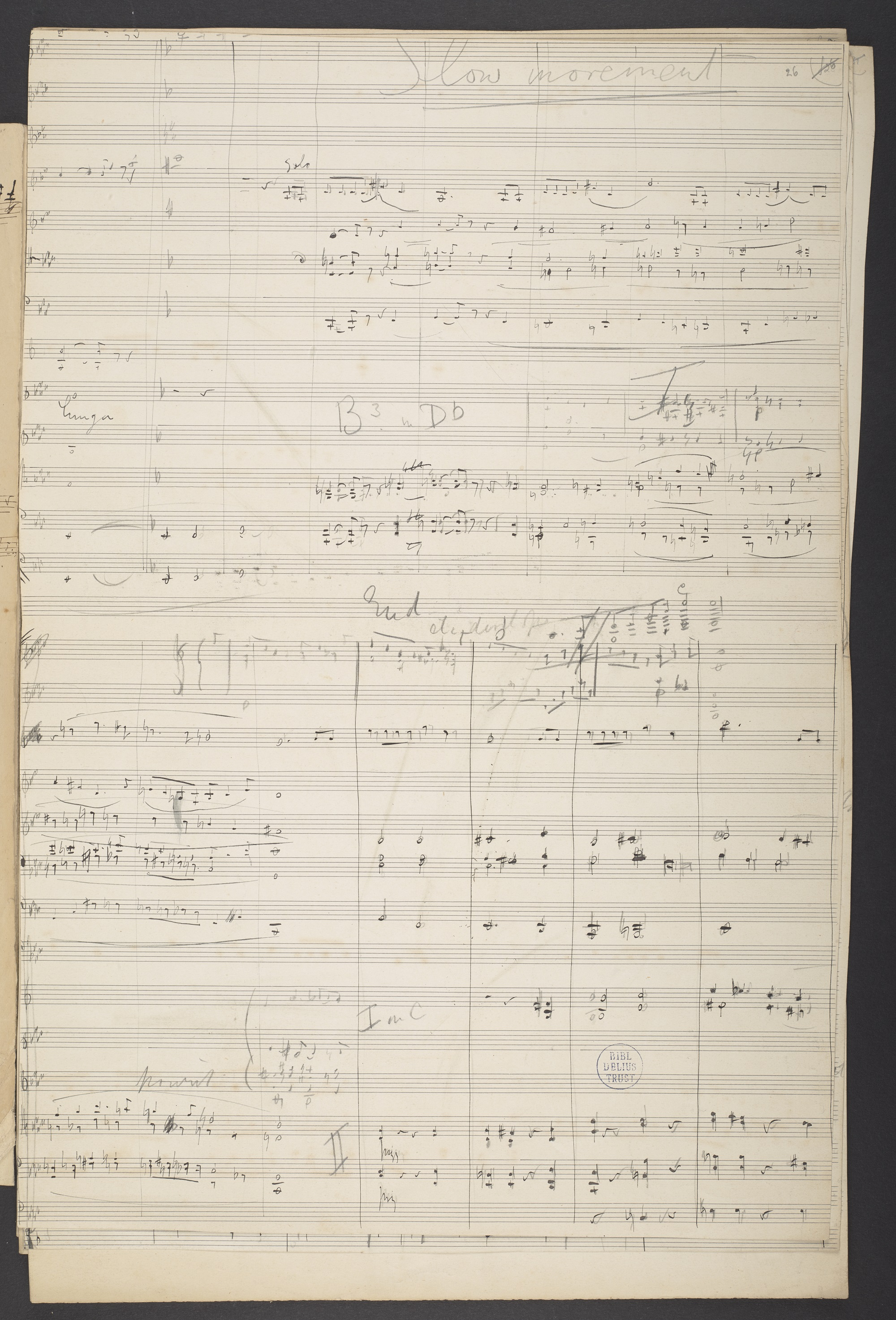 Sketch for Frederick Delius, 'Appalachia', slow movement, f. 26r