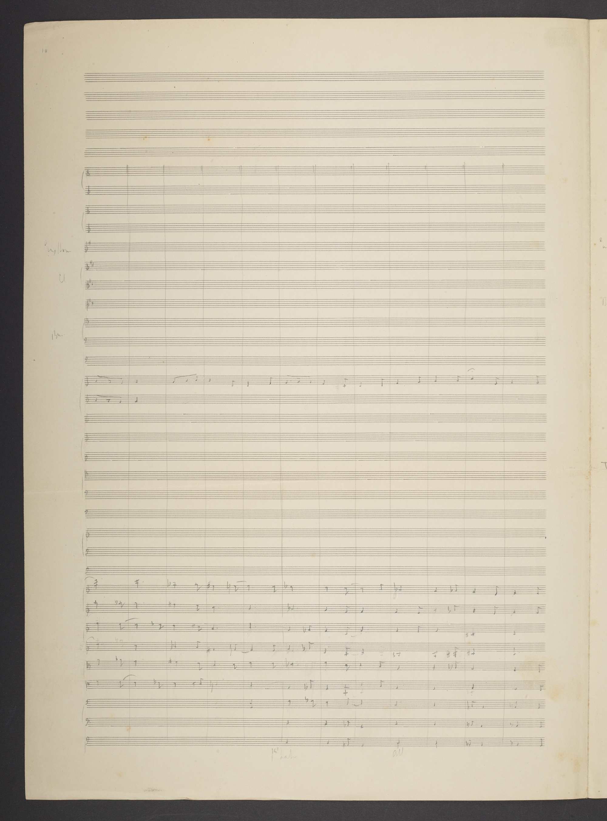 Early pencil score of Frederick Delius, Brigg Fair, f. 117v