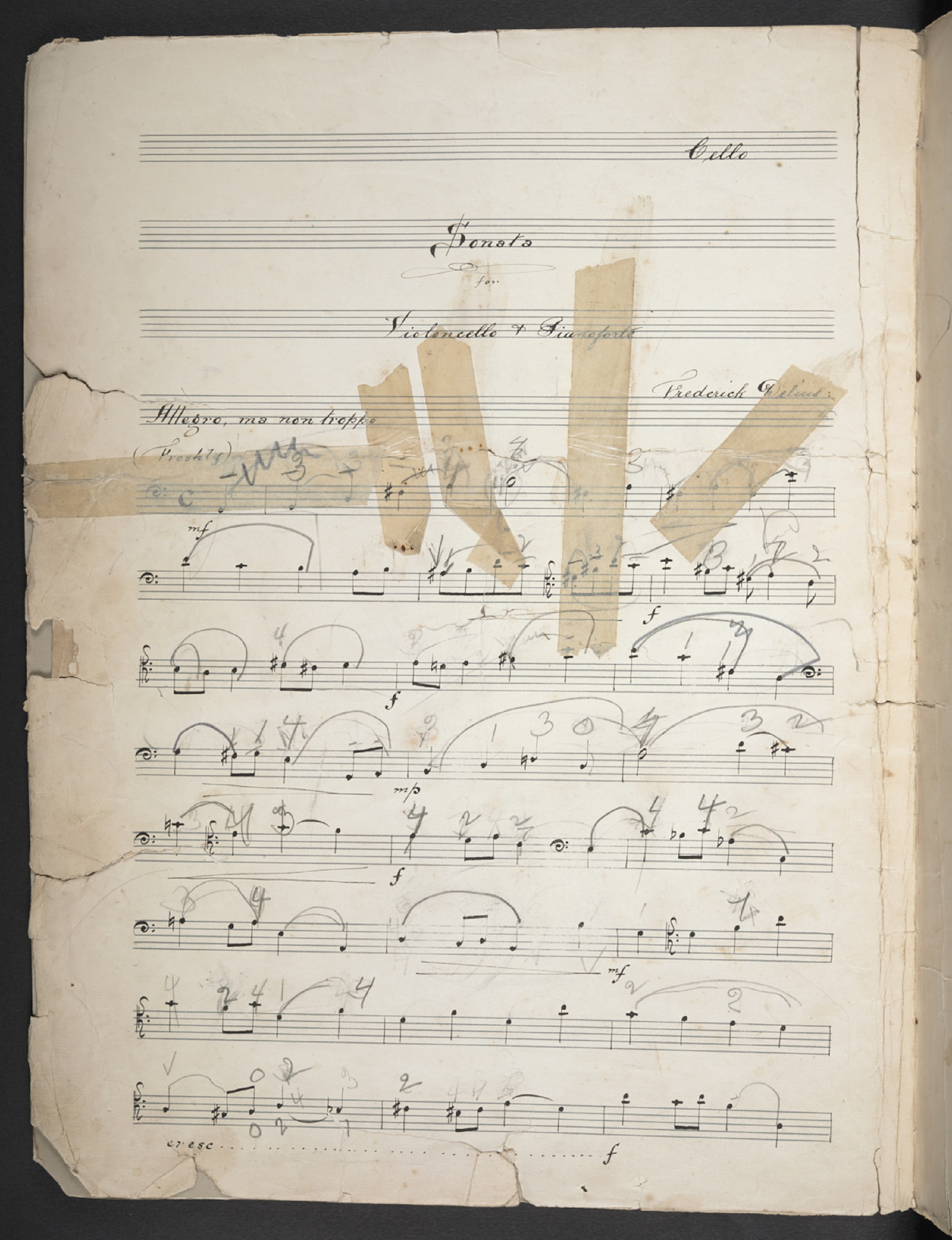 Frederick Delius, Cello Sonata, annotated by Beatrice Harrison