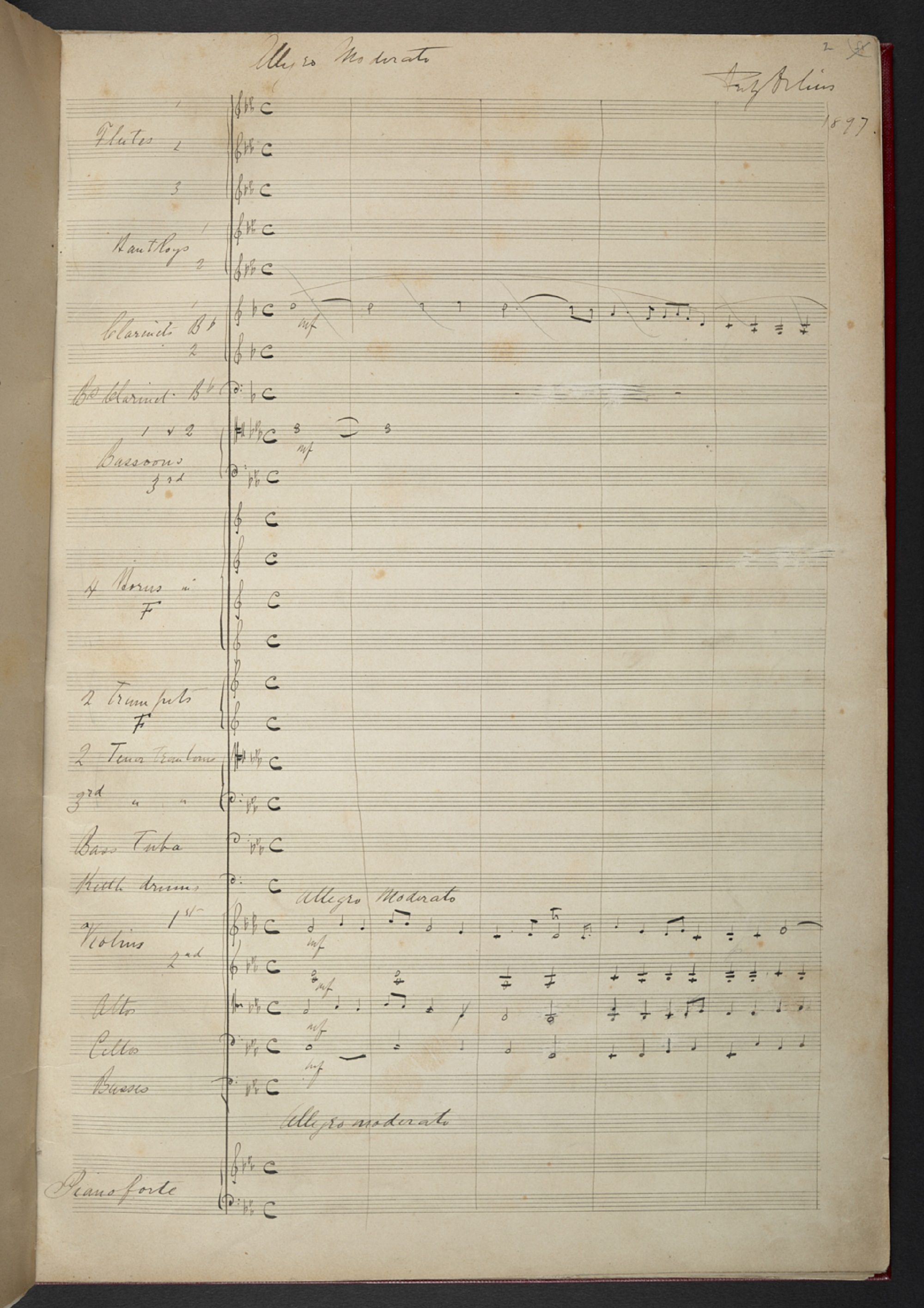 Autograph score of Frederick Delius, 'Fantasy for Orchestra and Pianoforte' (1897), f. 2r