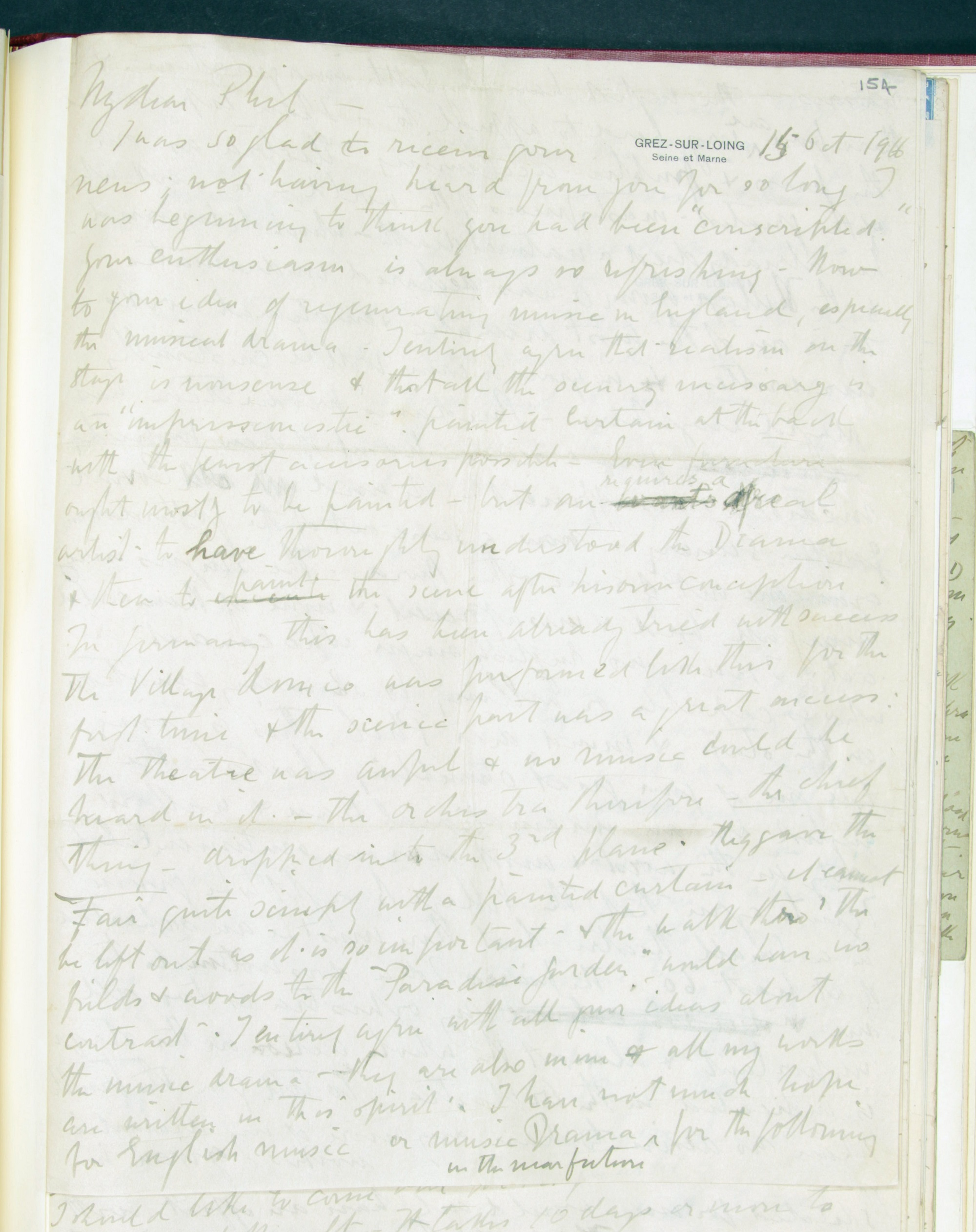 Frederick Delius, Letter to Philip Heseltine, 15 October 1916, f. 154r