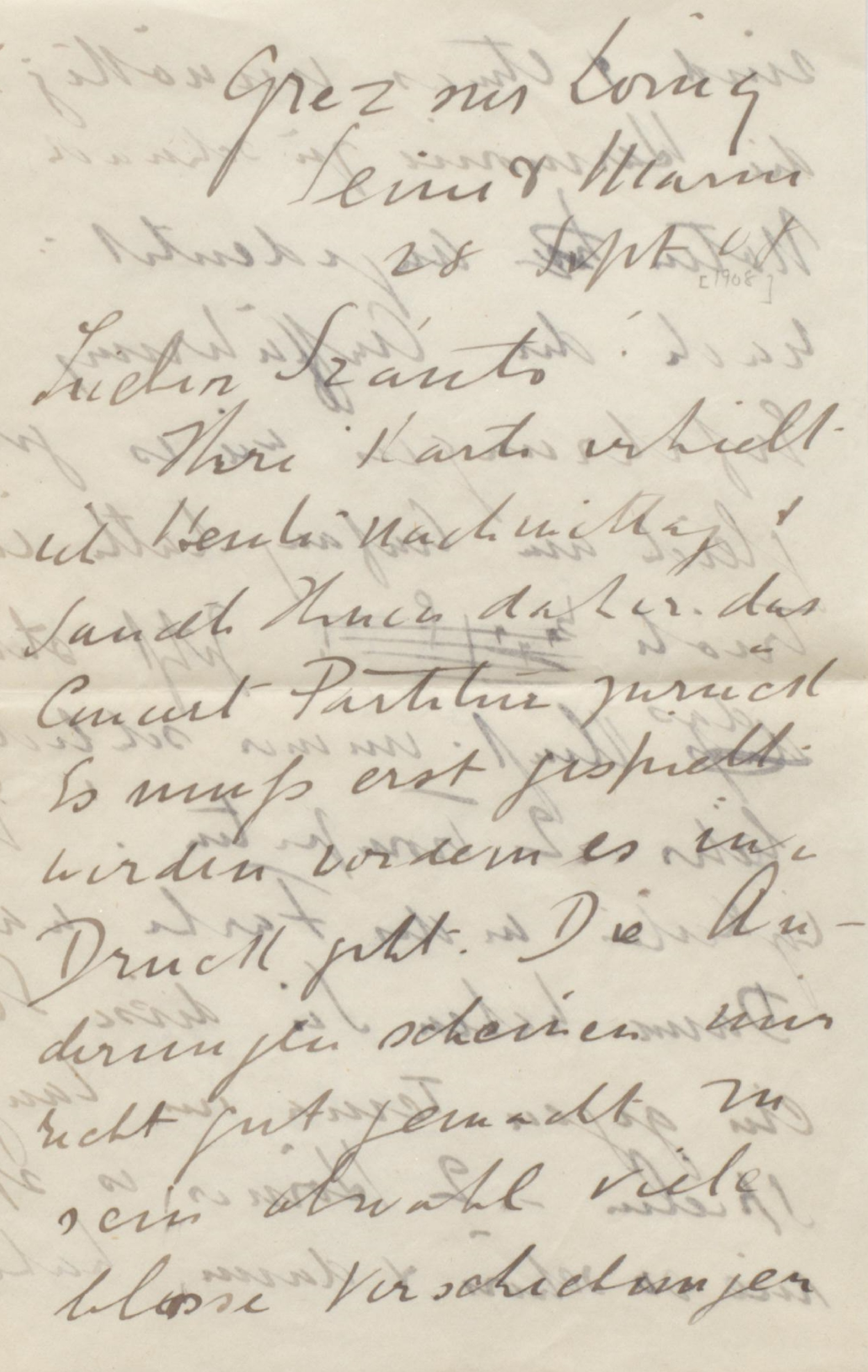 Letter from Frederick Delius to Thomas Szántó, 18 September 1908
