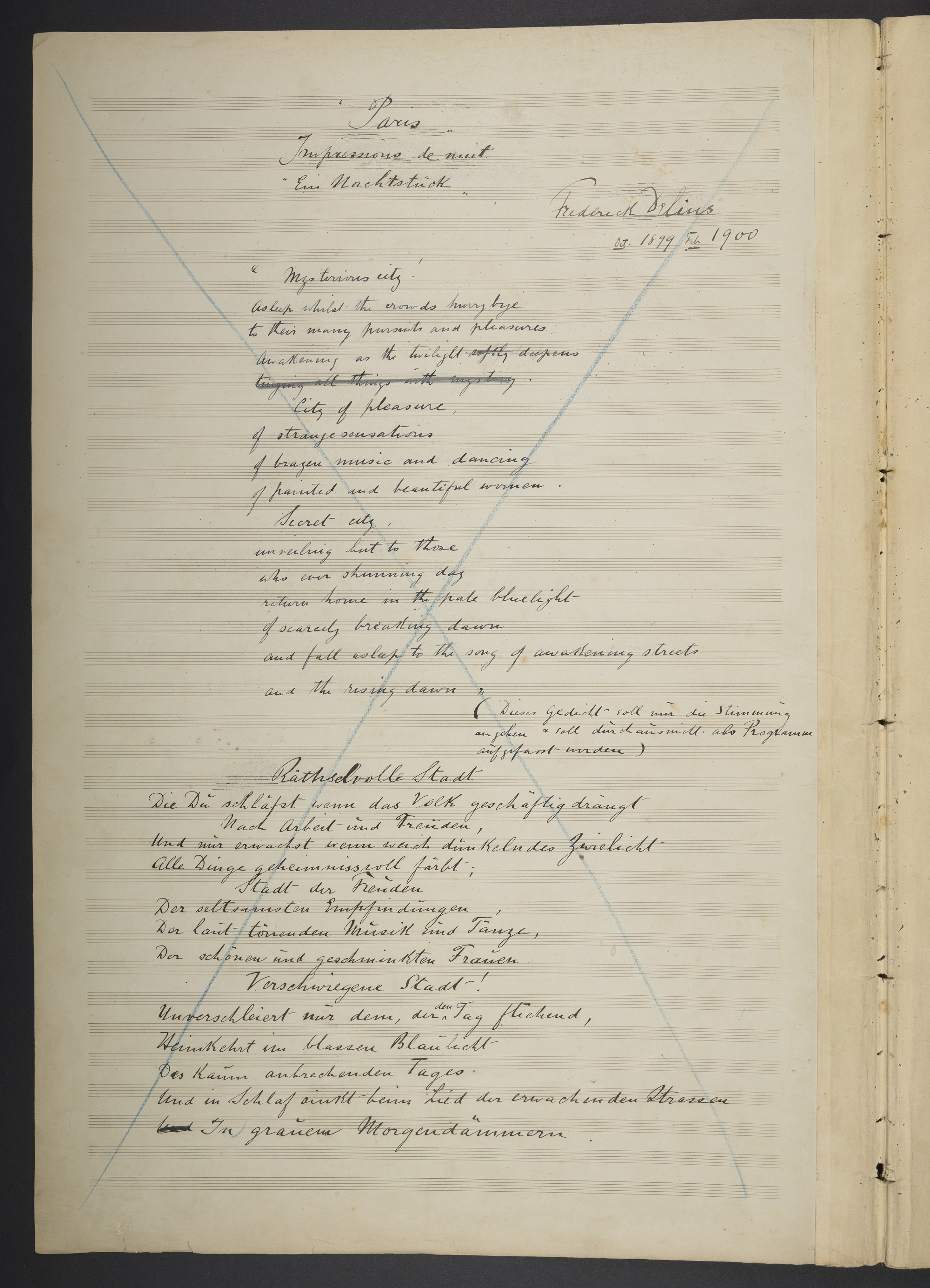 Autograph manuscript of Frederick Delius, 'Paris'