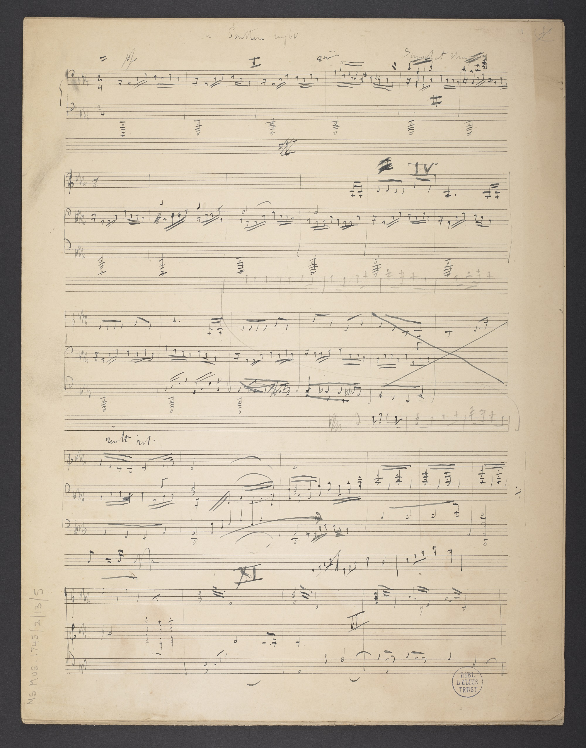 Sketch of Frederick Delius, 'Southern Night', f. 1r