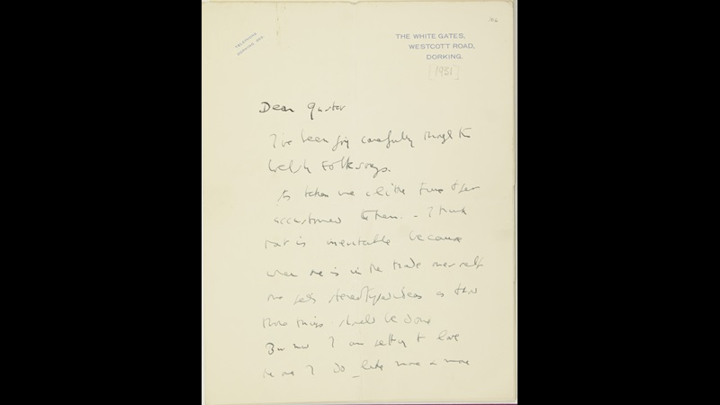 Letter from Ralph Vaughan Williams to Gustav Holst, early March 1933, MS Mus 158
