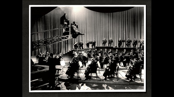 Photograph of the filming of Instruments of the Orchestra