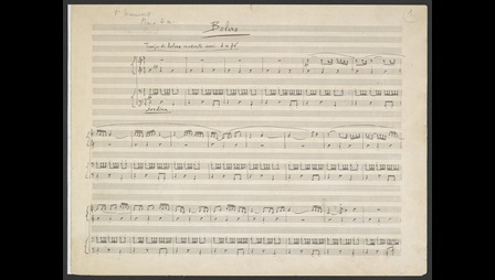 Maurice Ravel: 'Boléro', ballet for orchestra, 1928: version for piano duet, Zweig MS 74