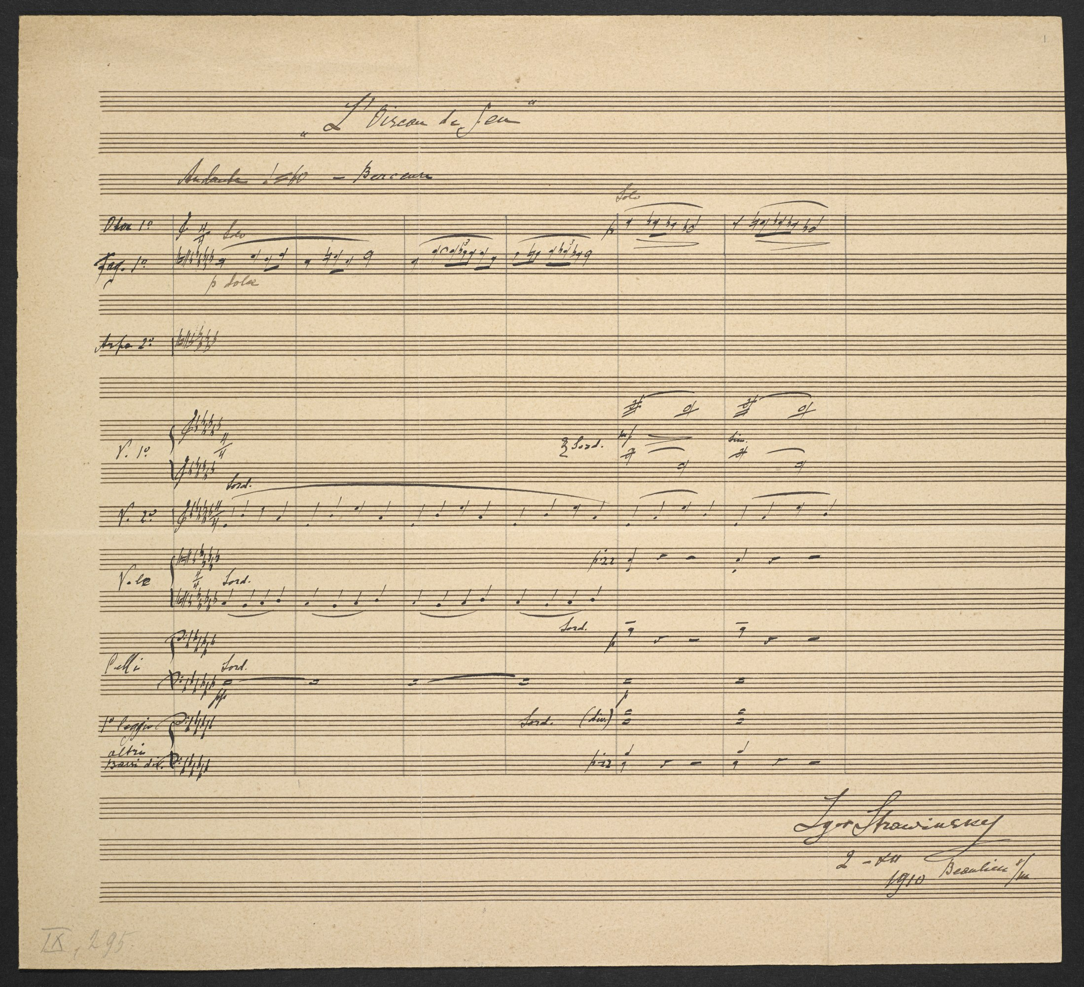 Igor Stravinsky: 'Berceuse' from the ballet The Firebird, Zweig MS 93
