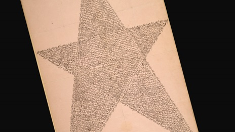 The Star Tablet of the Bab, Or 6887. Text written in the shape of a five-point star.