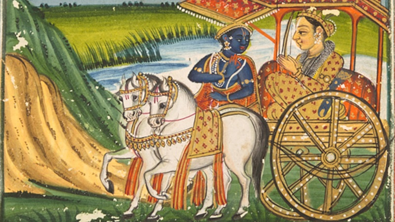 Krishna and Arjuna approaching the Kurukshetra battlefield, from a Bhagavad Gīta manuscript. Or 13758 folio 12 recto