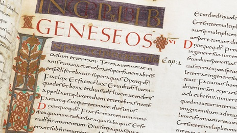 Detail of the start of the Book of Gensis. With historiated initial 'I'