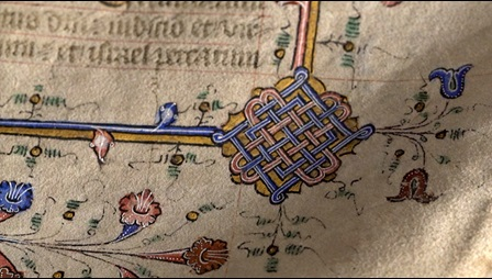 Blue and gold detail from an illuminated manuscript